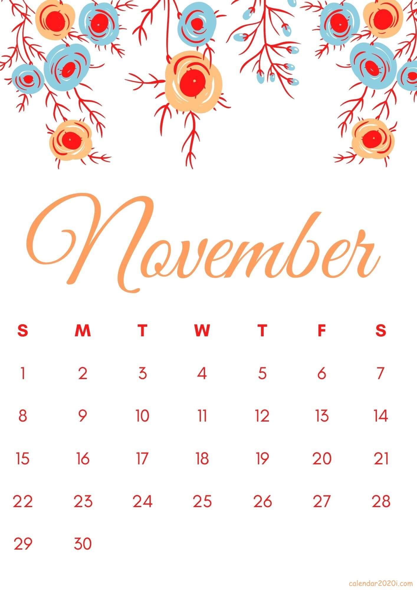 Cute November 2020 Calendar Template