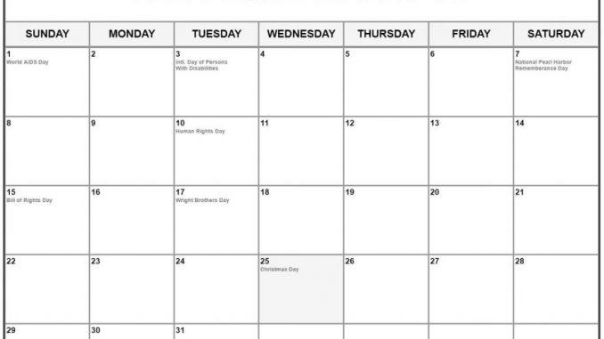 December 2019 Monthly Calendar With Holidays Desk