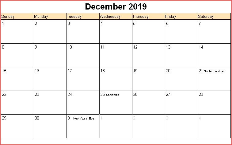 December Calendar 2019 With Holidays