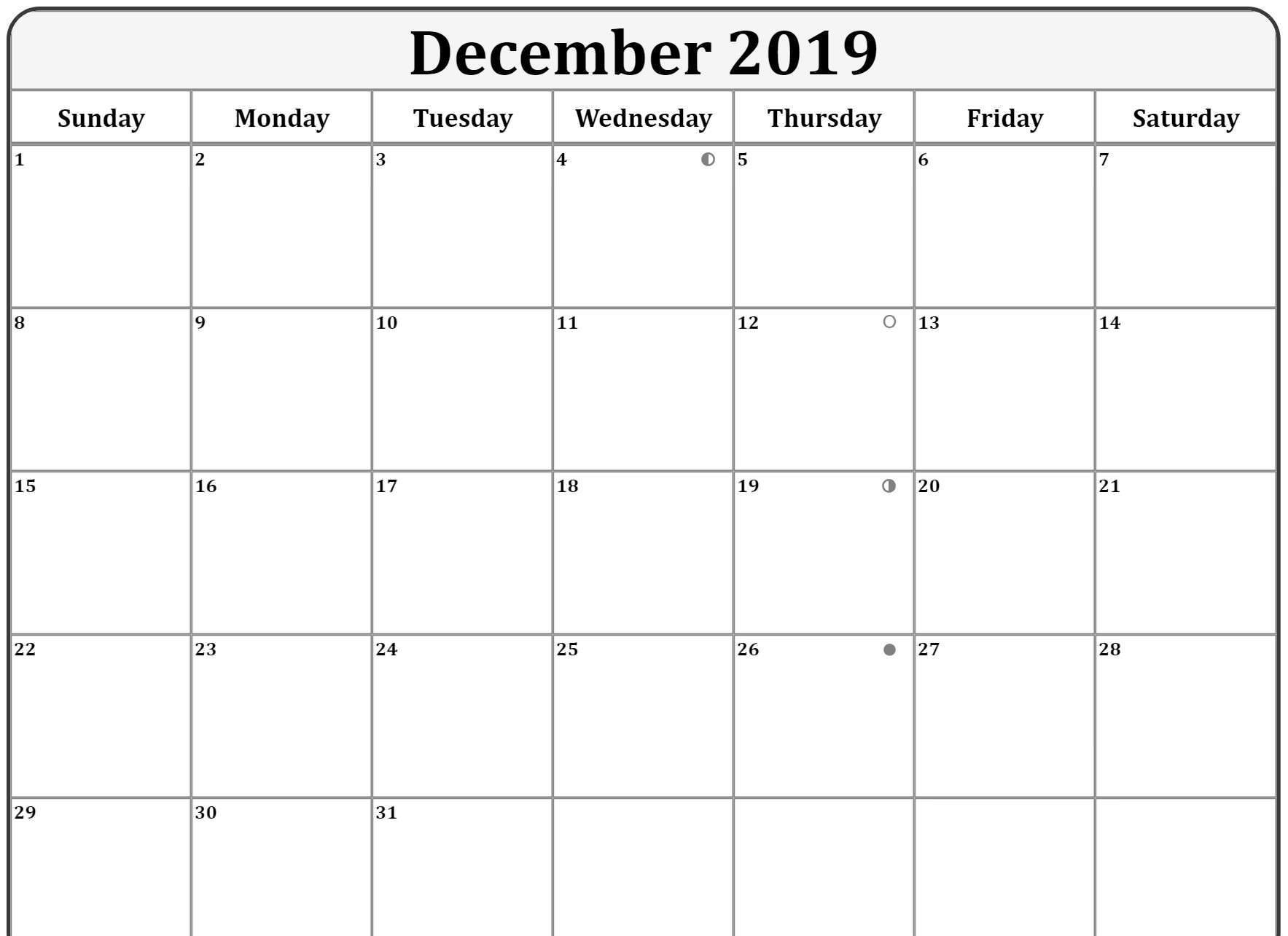 Editable December 2019 Calendar Print