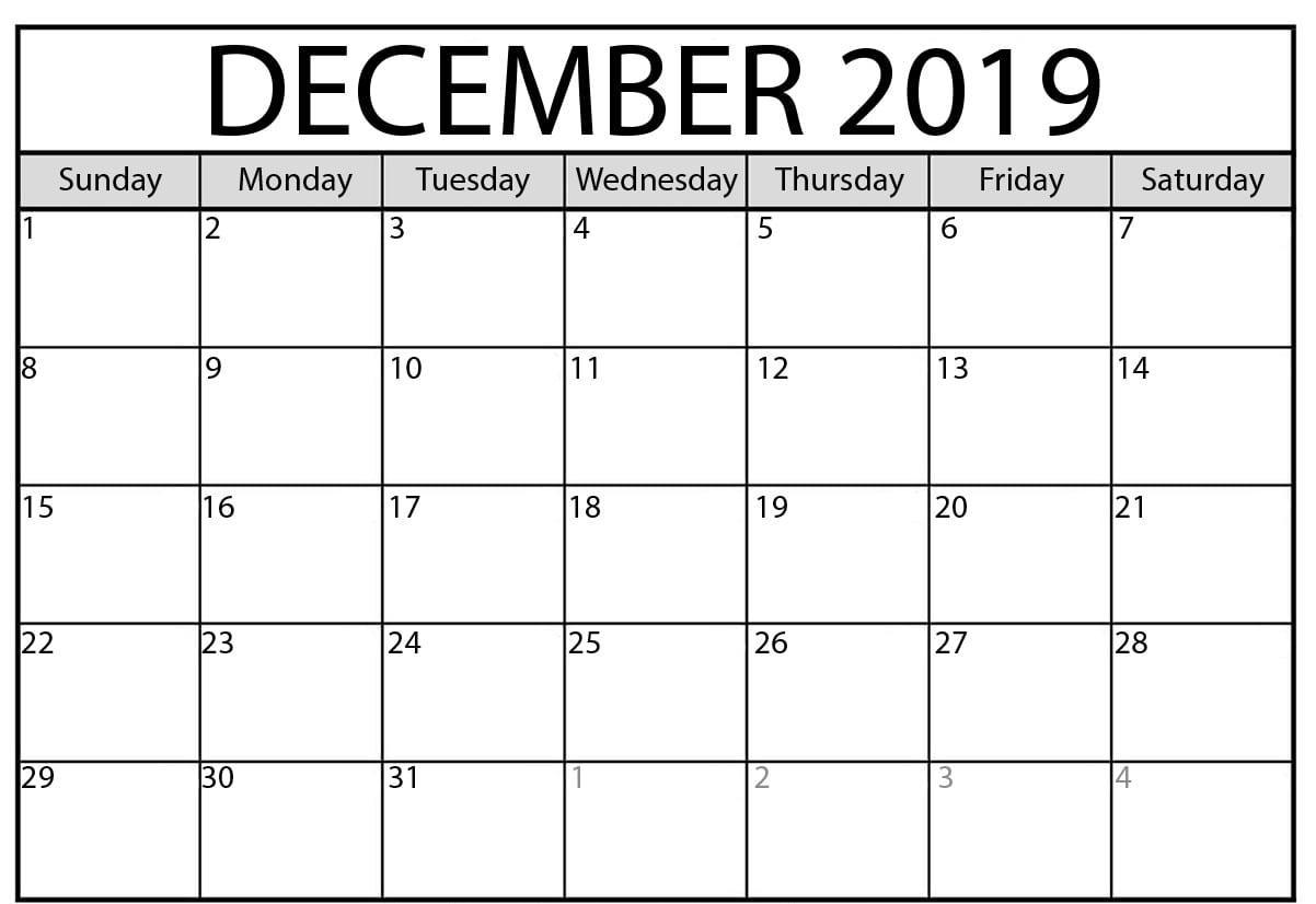Editable December 2019 Calendar Printable
