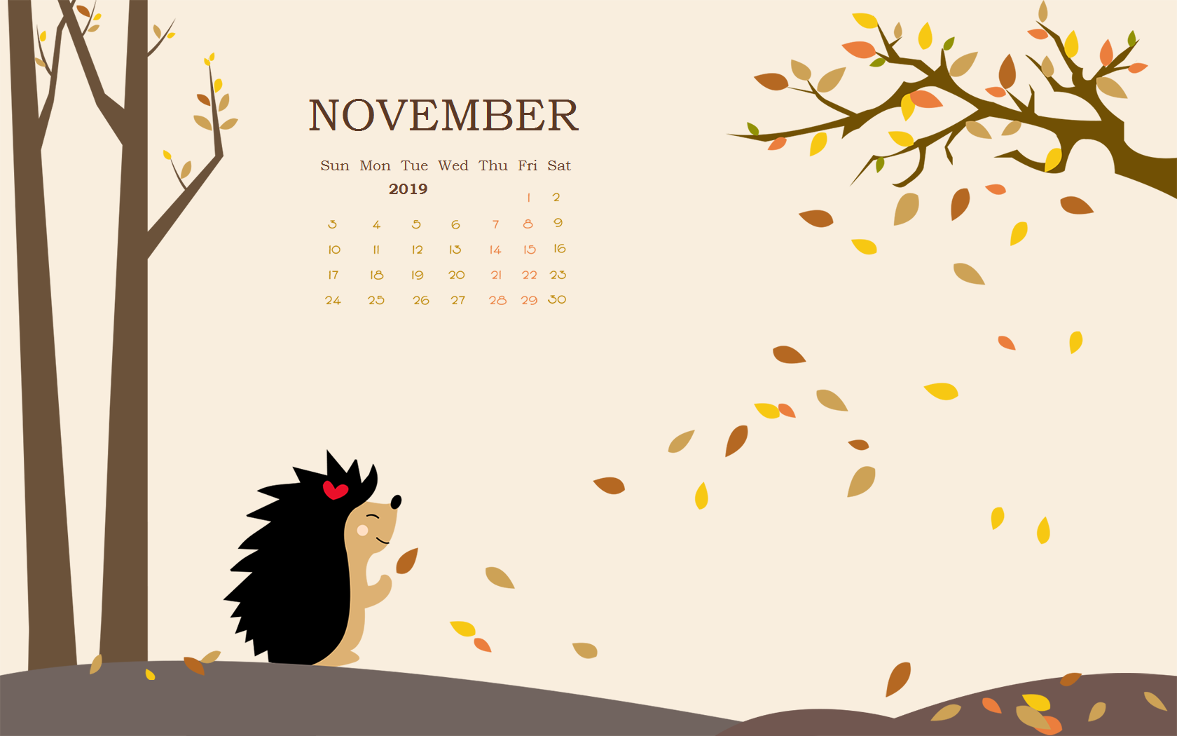 Floral November 2019 Calendar Wallpaper for Desktop
