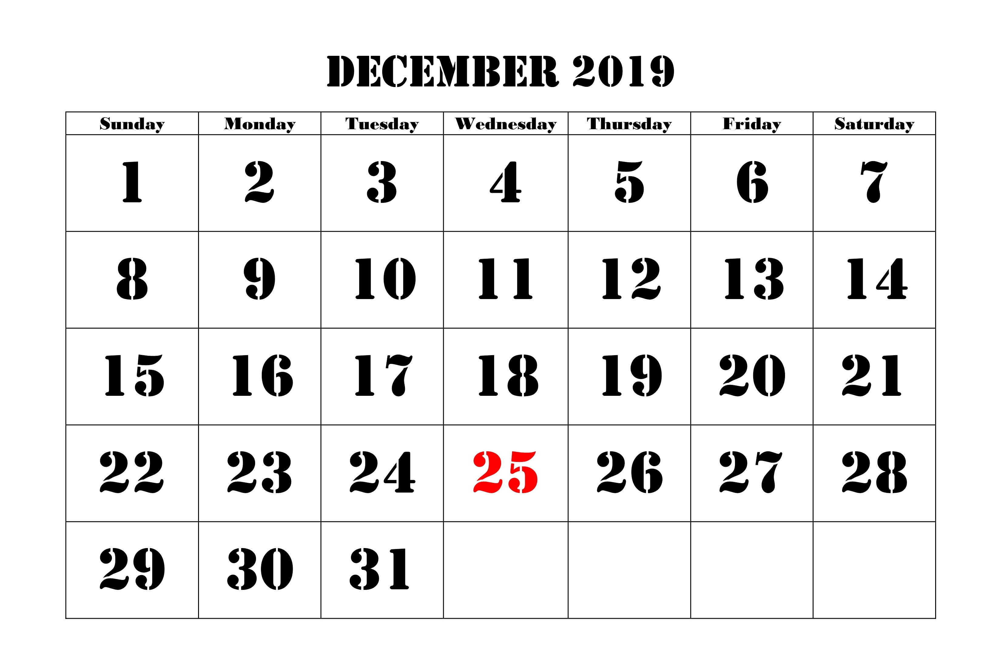 Holidays Calendar of December 2019 India