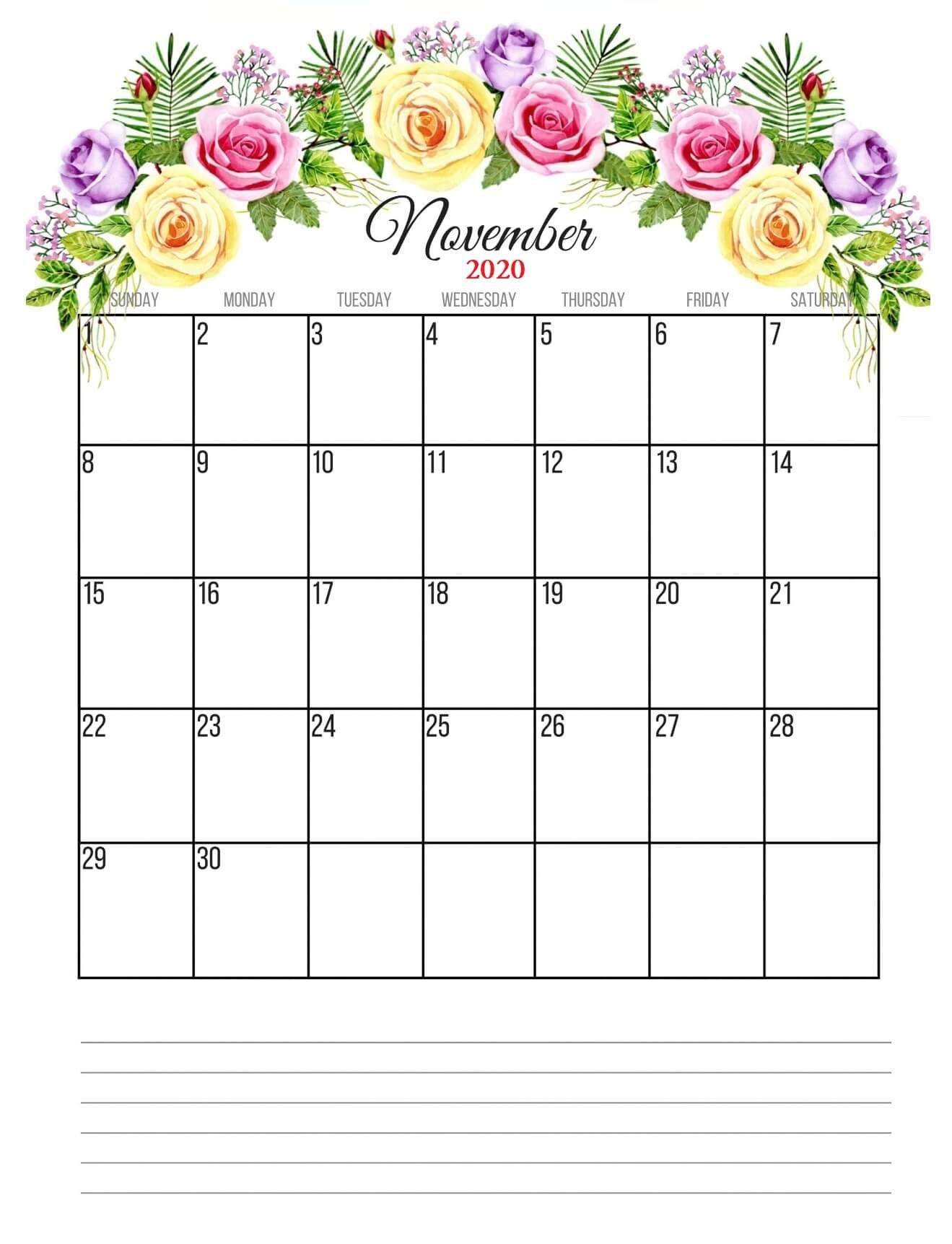 Monthly November 2020 Floral Calendar with Notes