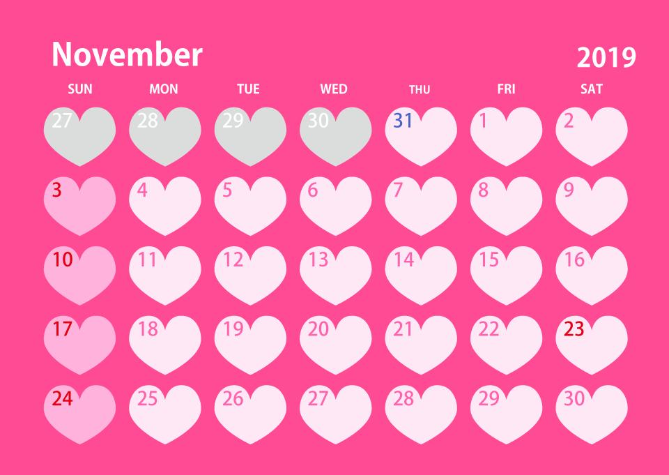 November 2019 Calendar Pink