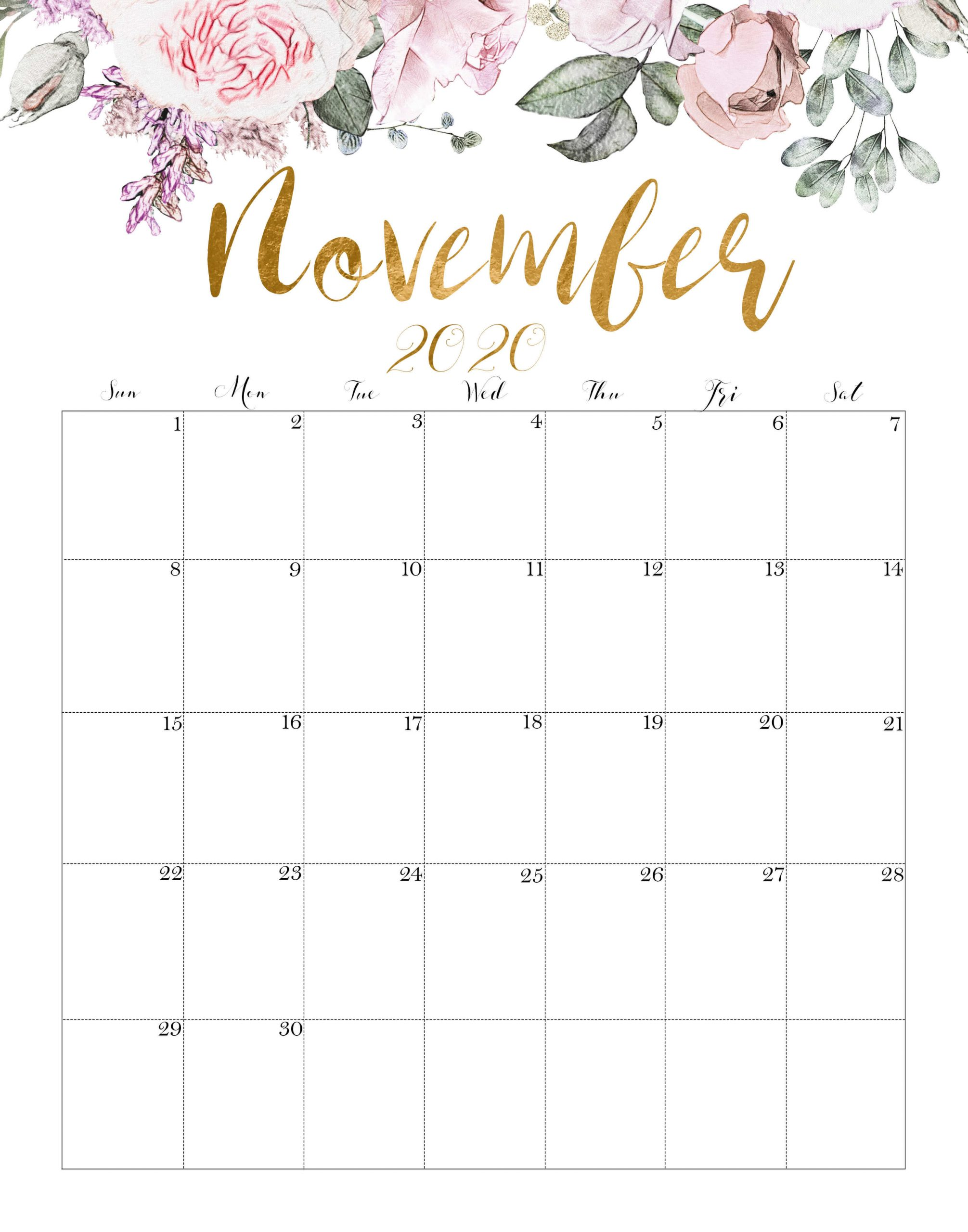 November 2020 Calendar Floral