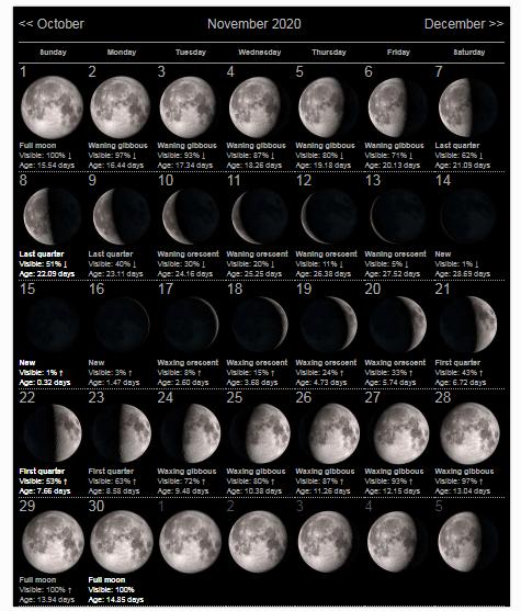 November 2020 Lunar Calendar