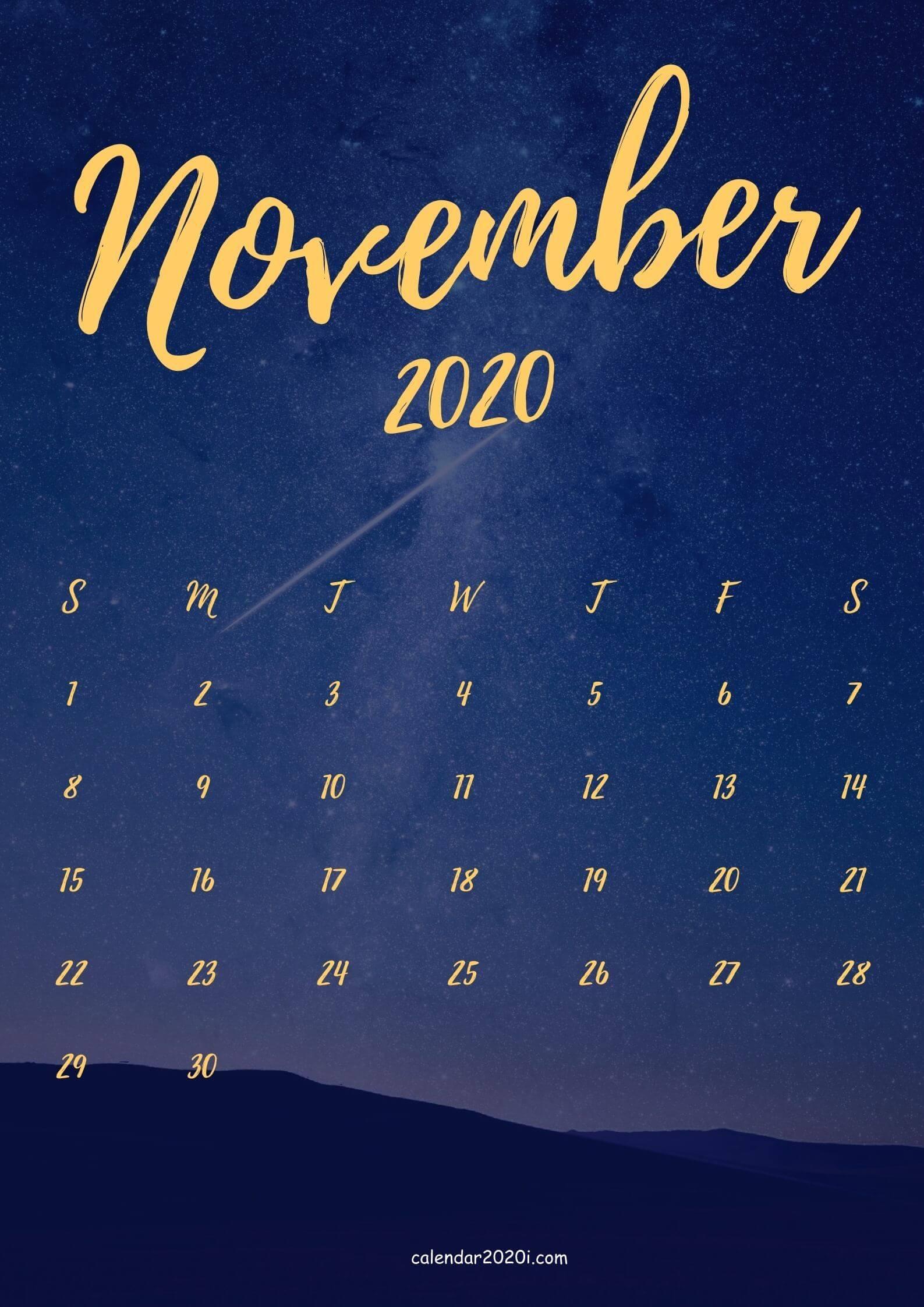November 2020 iPhone Calendar Wallpaper