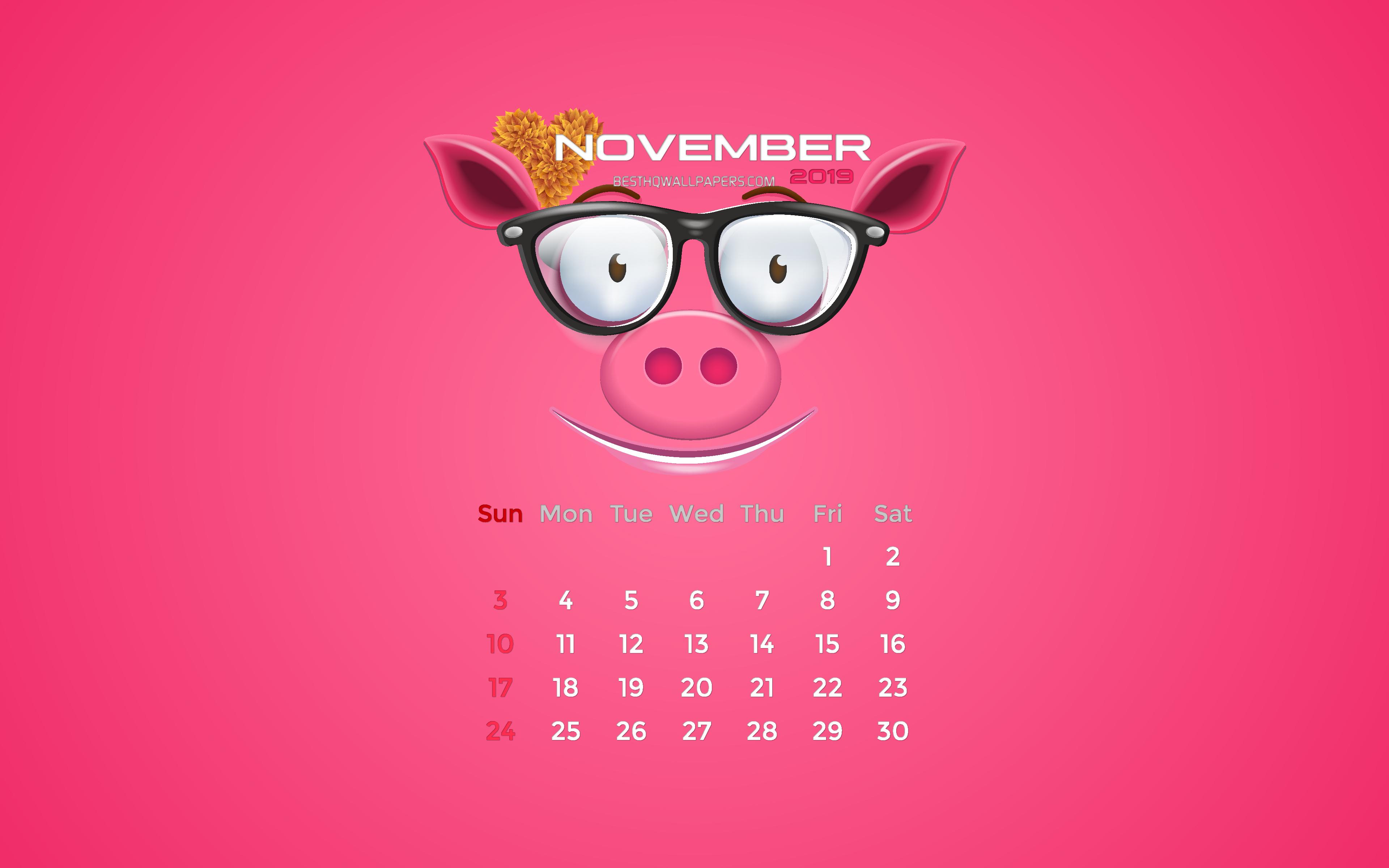 November Calendar 2019 Pink Design