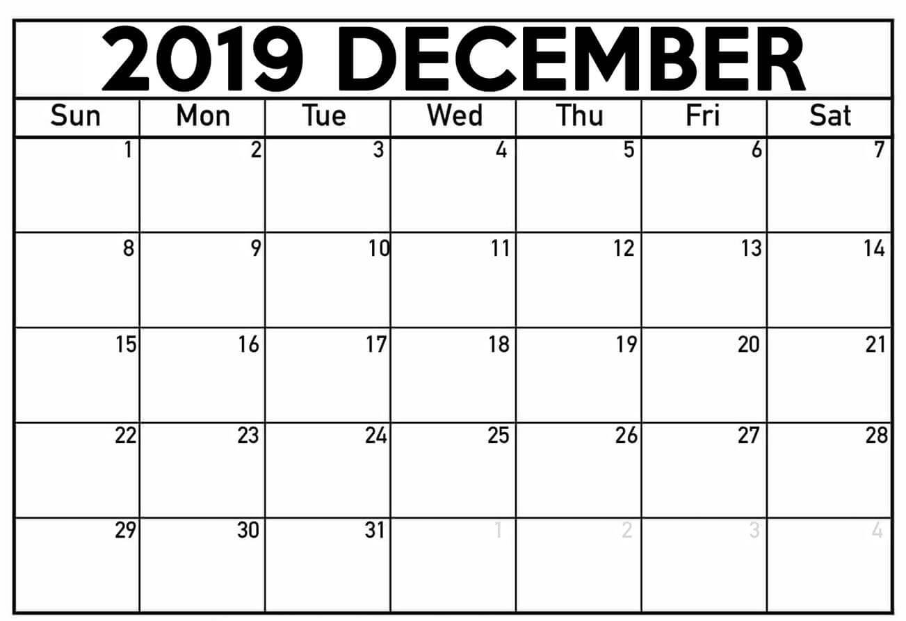 Printable December 2019 Calendar Moon Phases