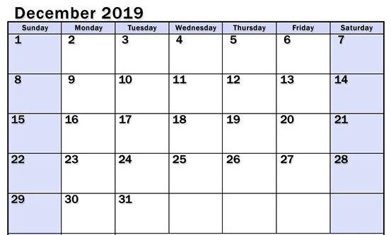 Print Blank December 2019 Calendar Editable