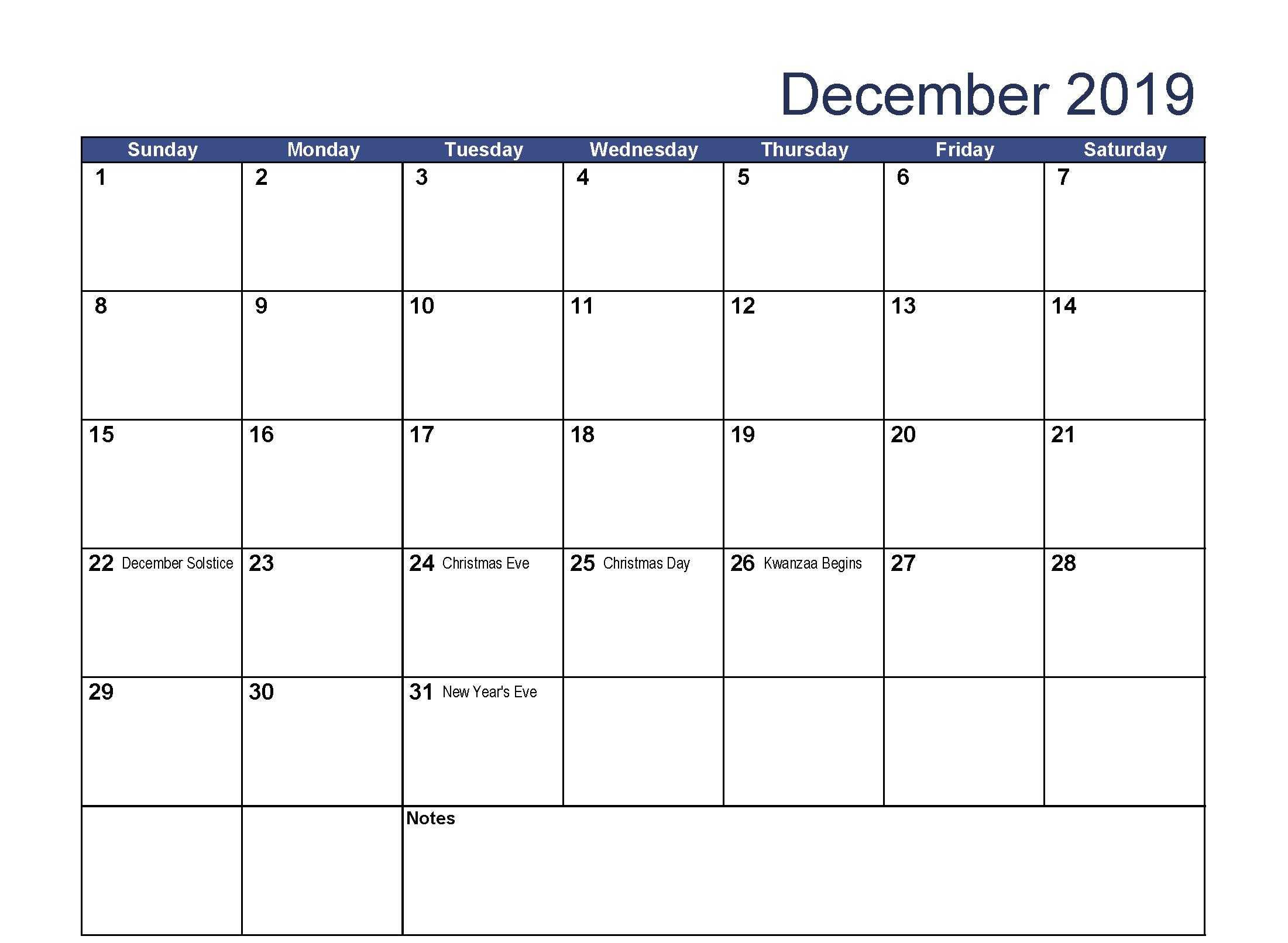 Print December 2019 Calendar Holidays