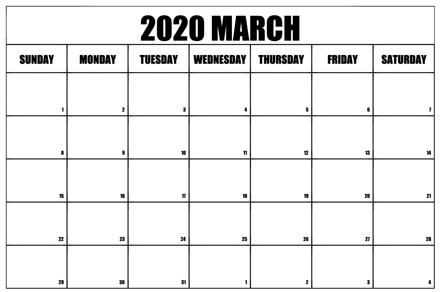 Editable March 2020 Calendar Template