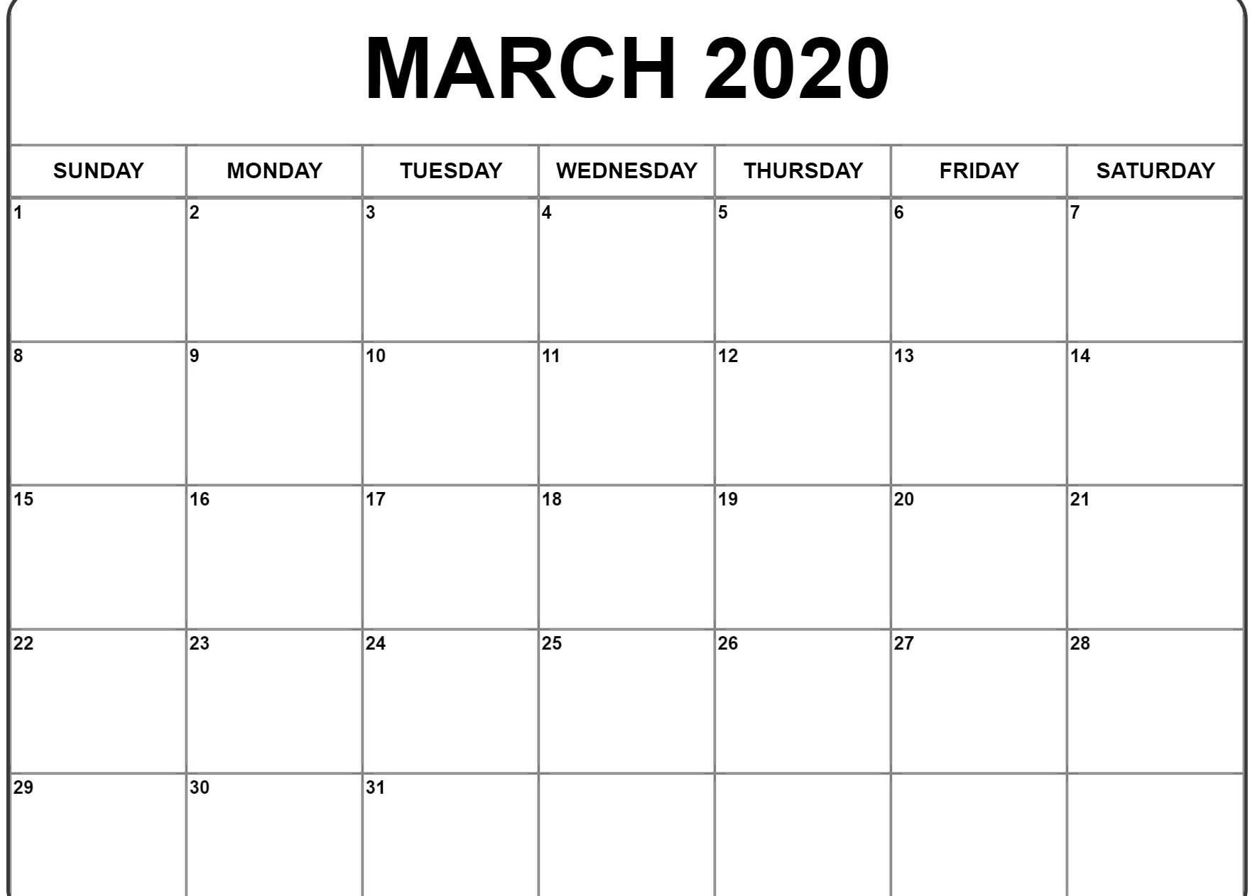 March 2020 Printable Calendar Blank Template