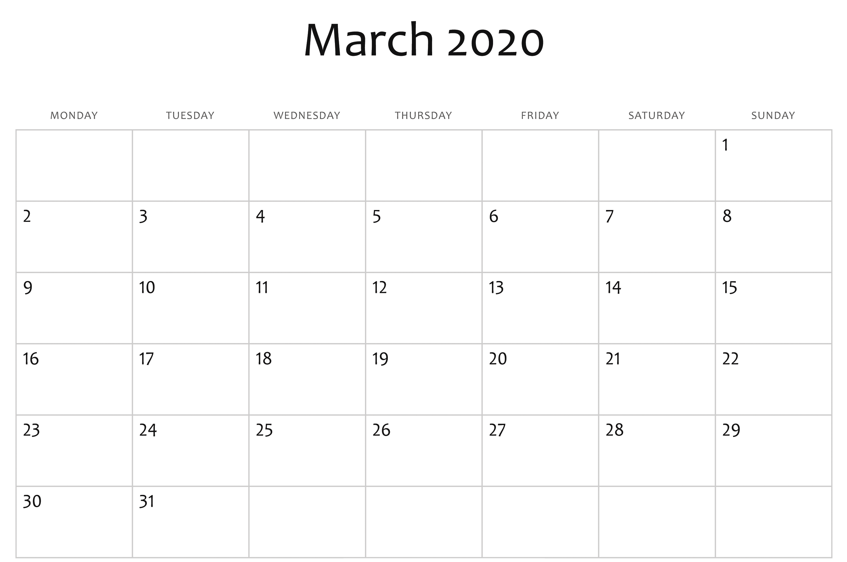 March 2020 Printable Calendar Monthly Template