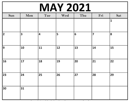 Blank May 2021 Editable Calendar A4 Letter Page