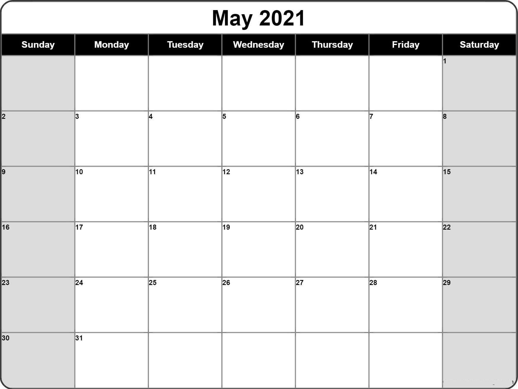 Blank calendar may 2021 editable