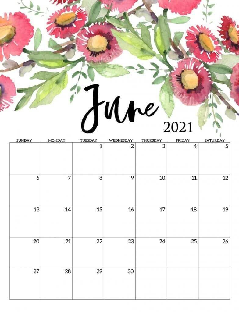 Cute June Floral Calendar
