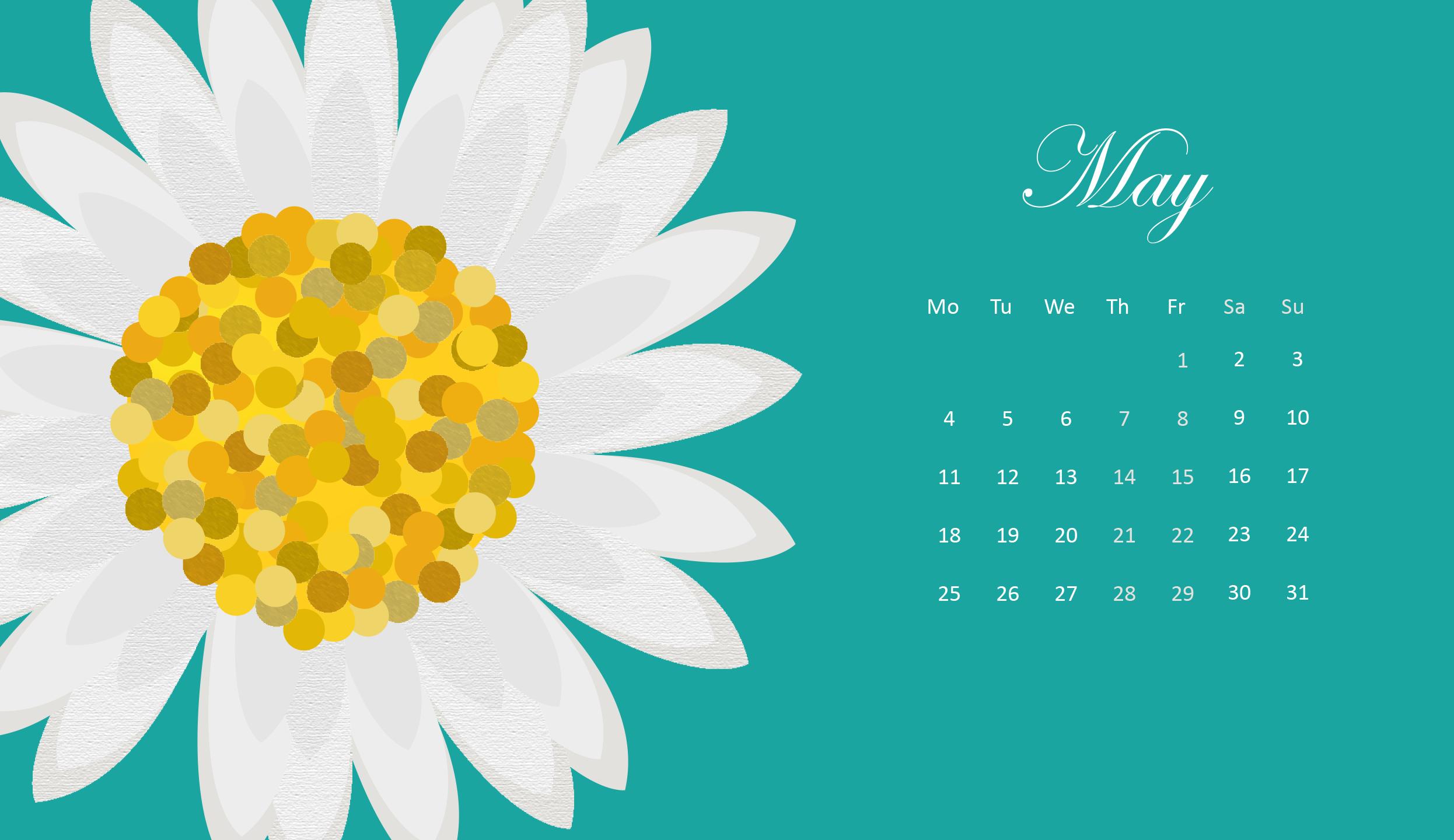 Cute May 2021 HD Calendar Wallpaper