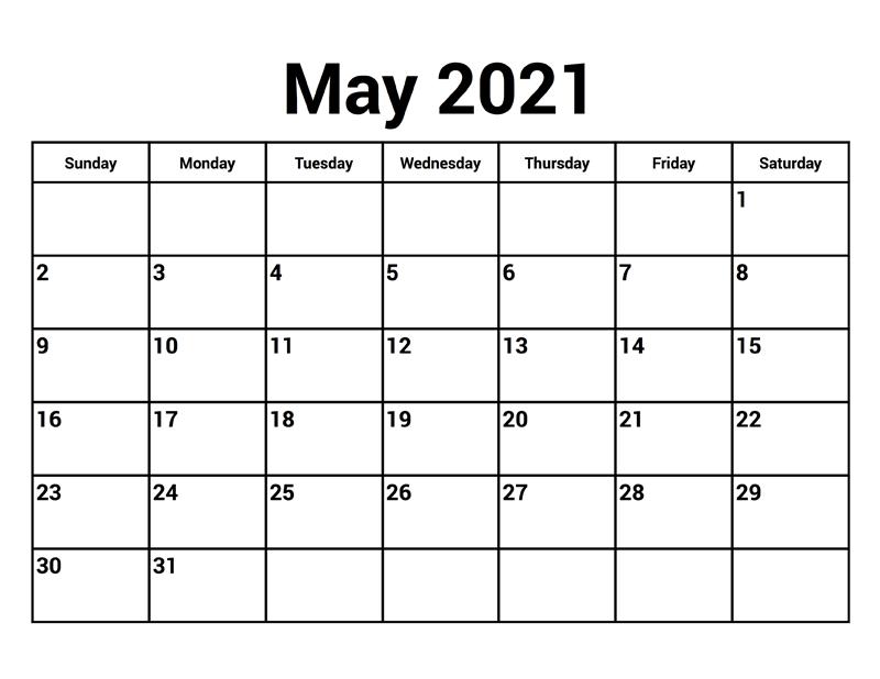 Editable may 2021 calendar landscape
