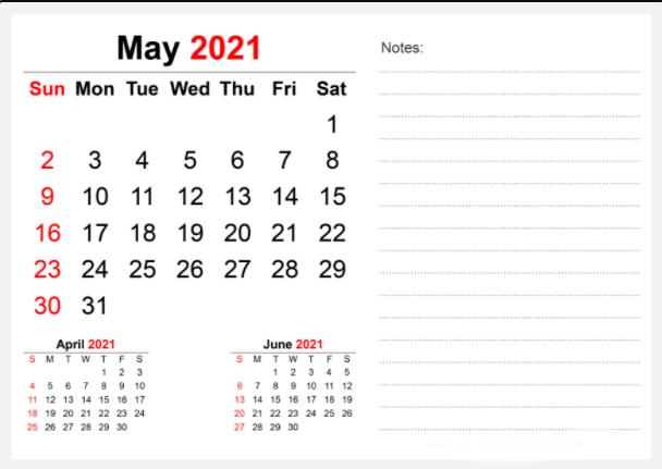 Editable may 2021 calendar notes