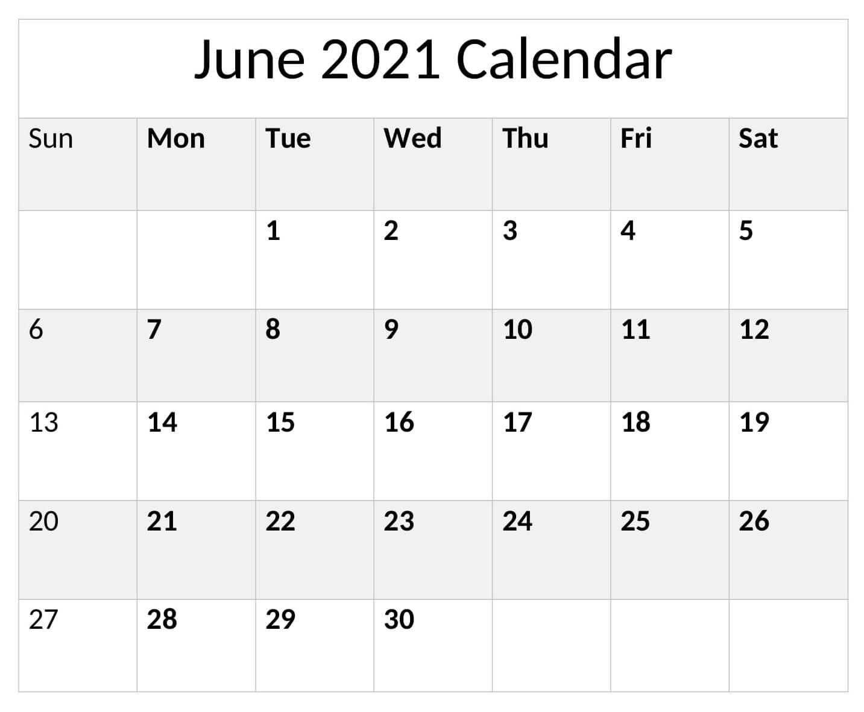 Free June 2021 Calendar Template Online