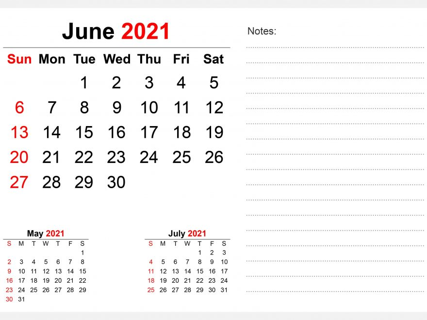 June 2021 Desk Calendar with Note Section