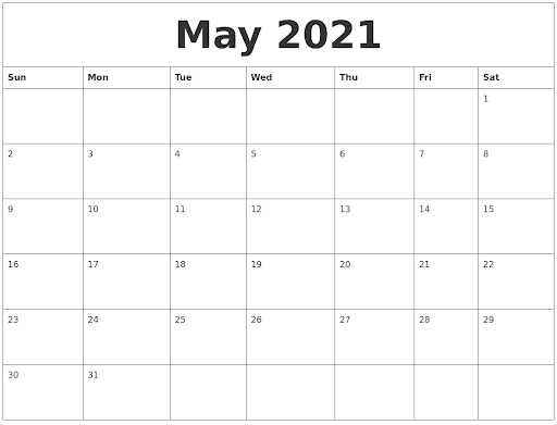 May 2021 Calendar Blank Word Template