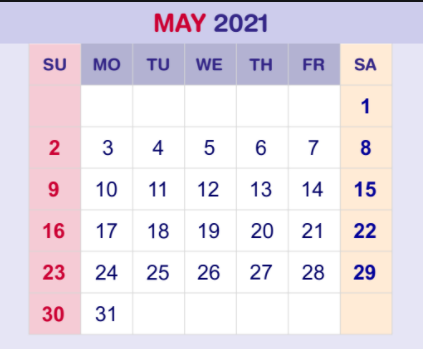May 2021 Calendar Excel Template