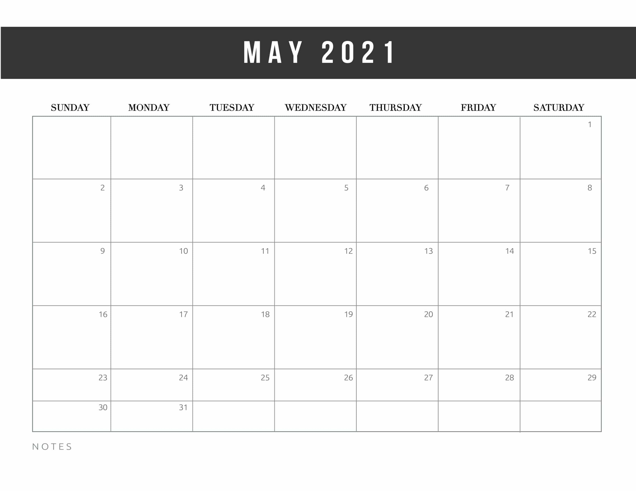 May 2021 blank calendar