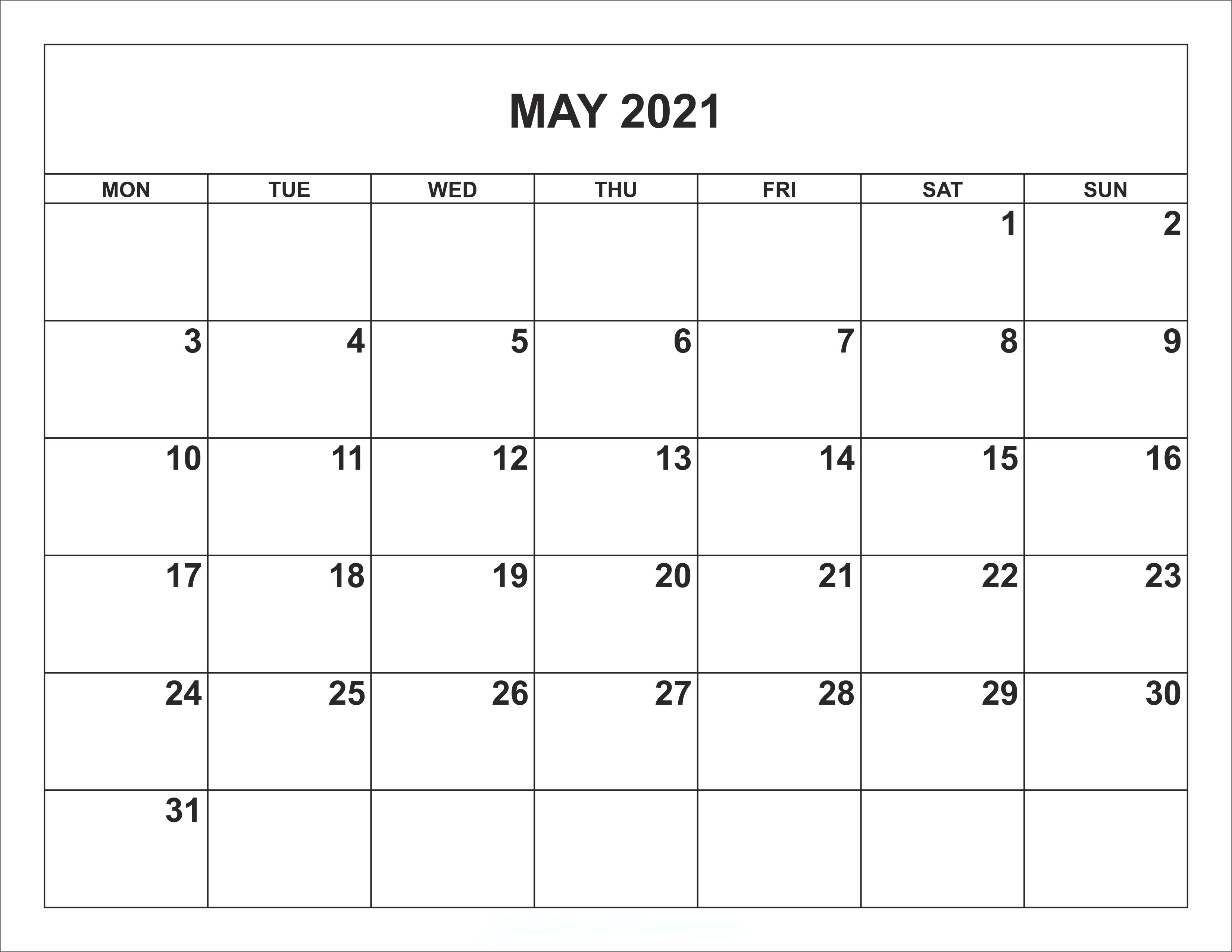 May 2021 editable calendar xls