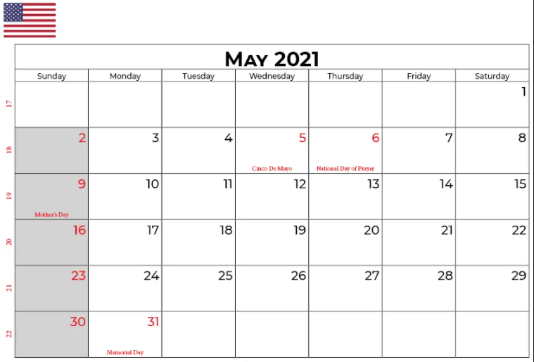 Monthly May 2021 Template