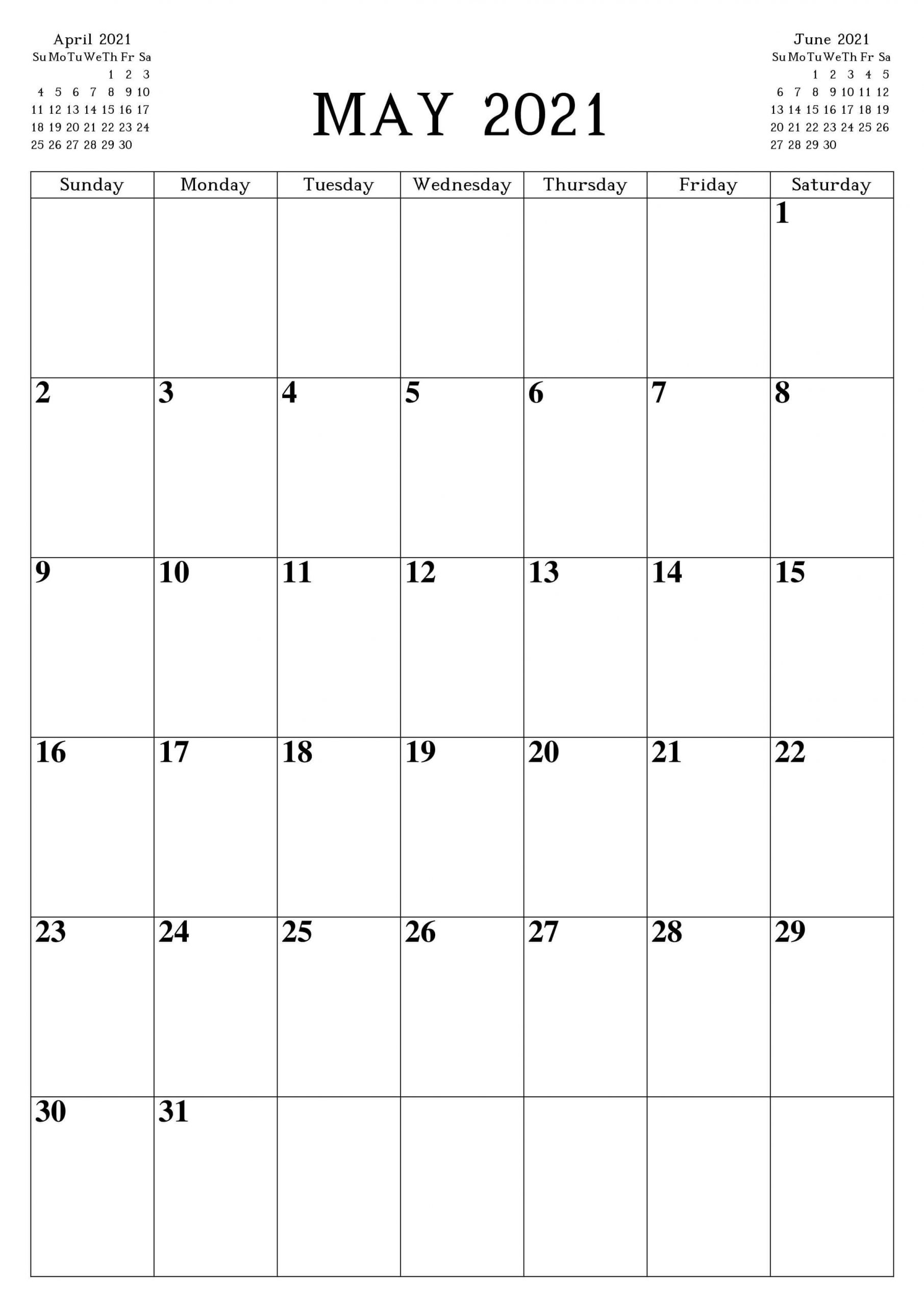 Print May 2021 Calendar Portrait