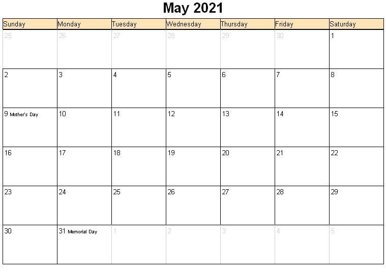 Printable may 2021 blank calendar