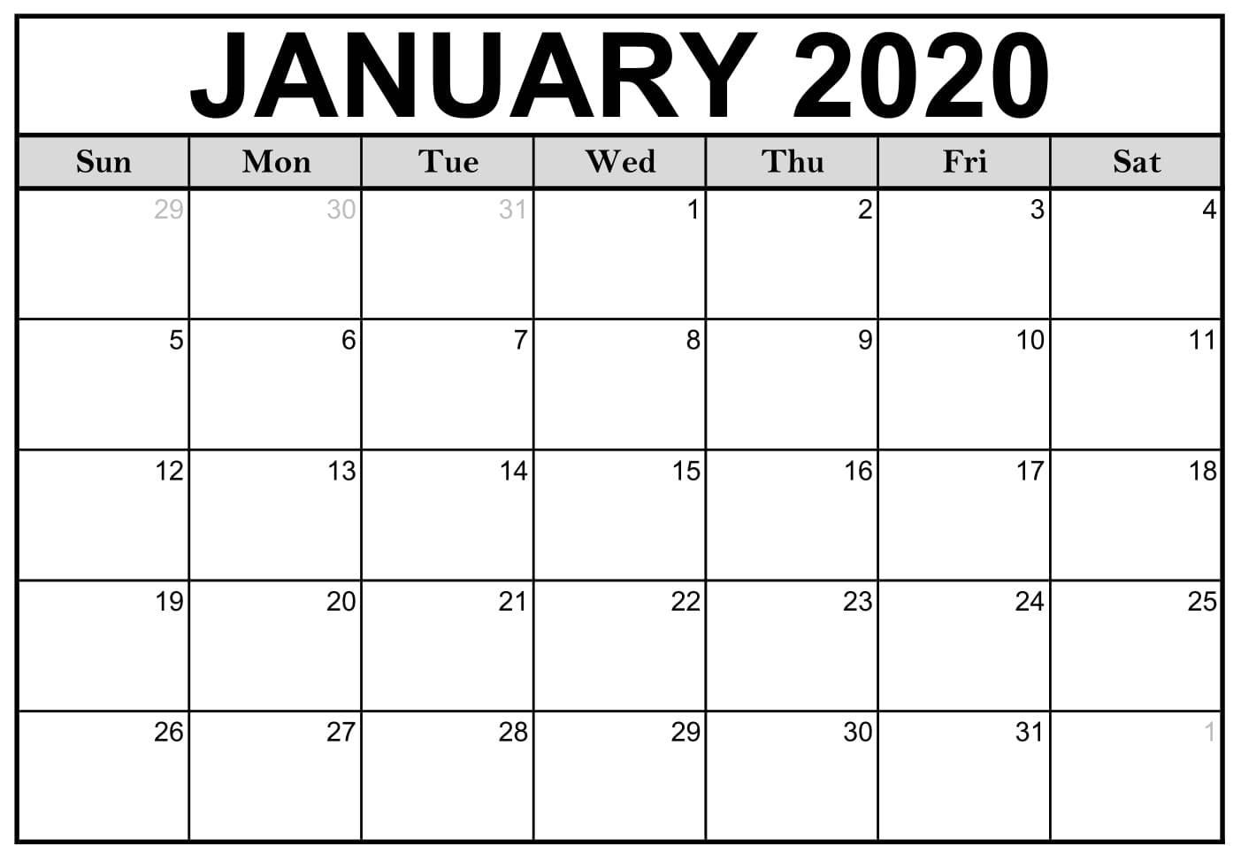 2020 Blank Calendar for January