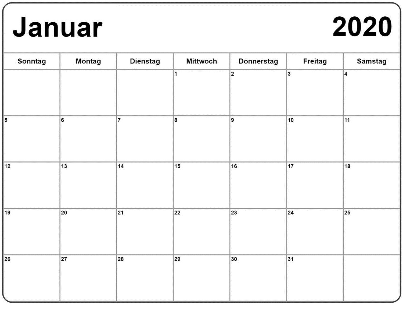 Druckbarer Kalender für Januar 2020