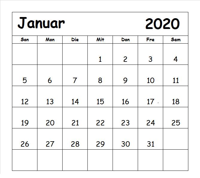 Januar 2020 Kalender mit Feiertagen