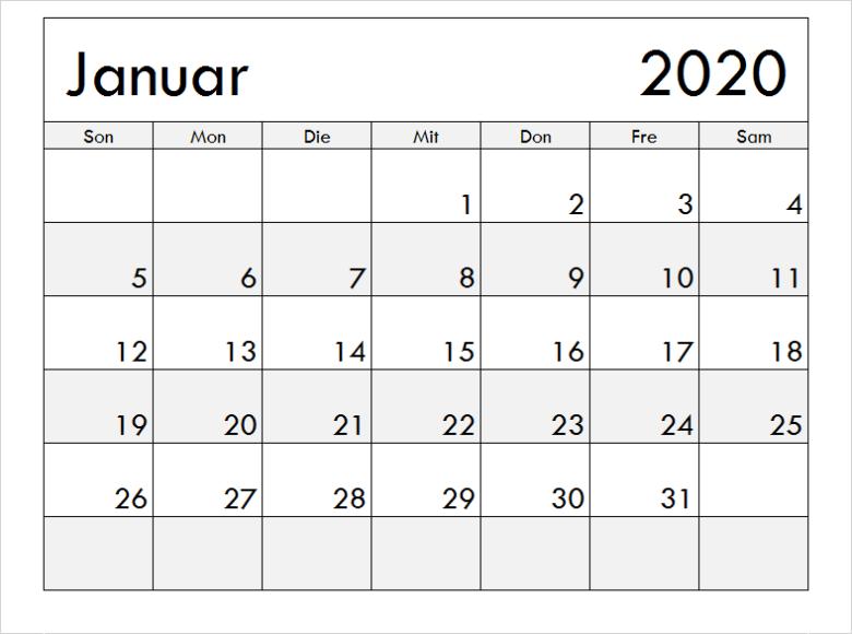 Januar 2020 Kalendervorlage