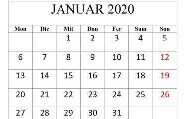 Kalender Januar 2020 Mit Feiertagen Stile