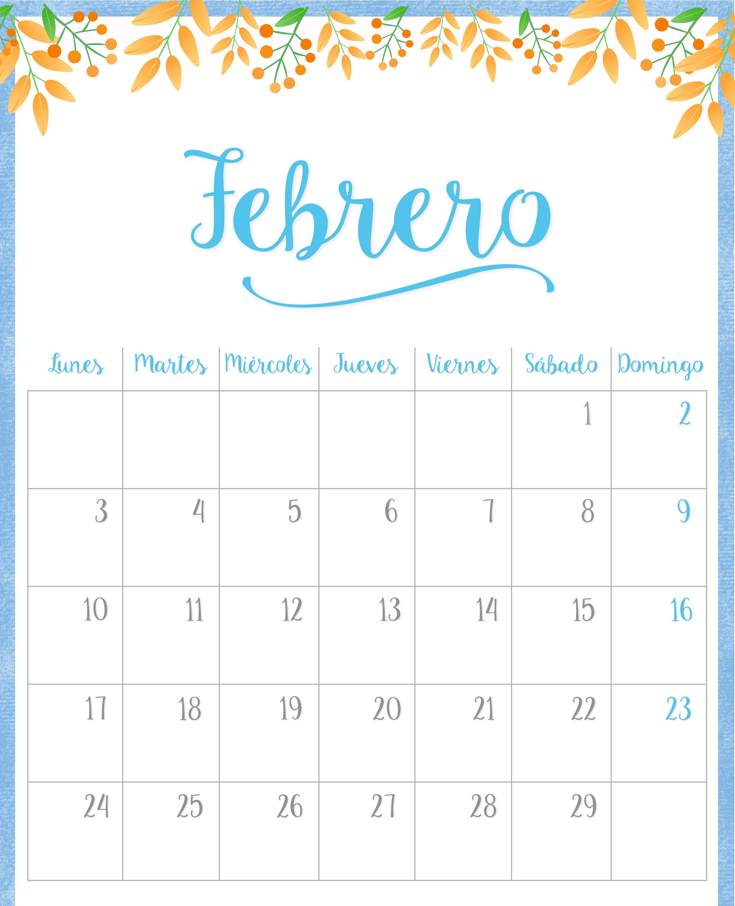 Calendario Febrero 2020 Excel