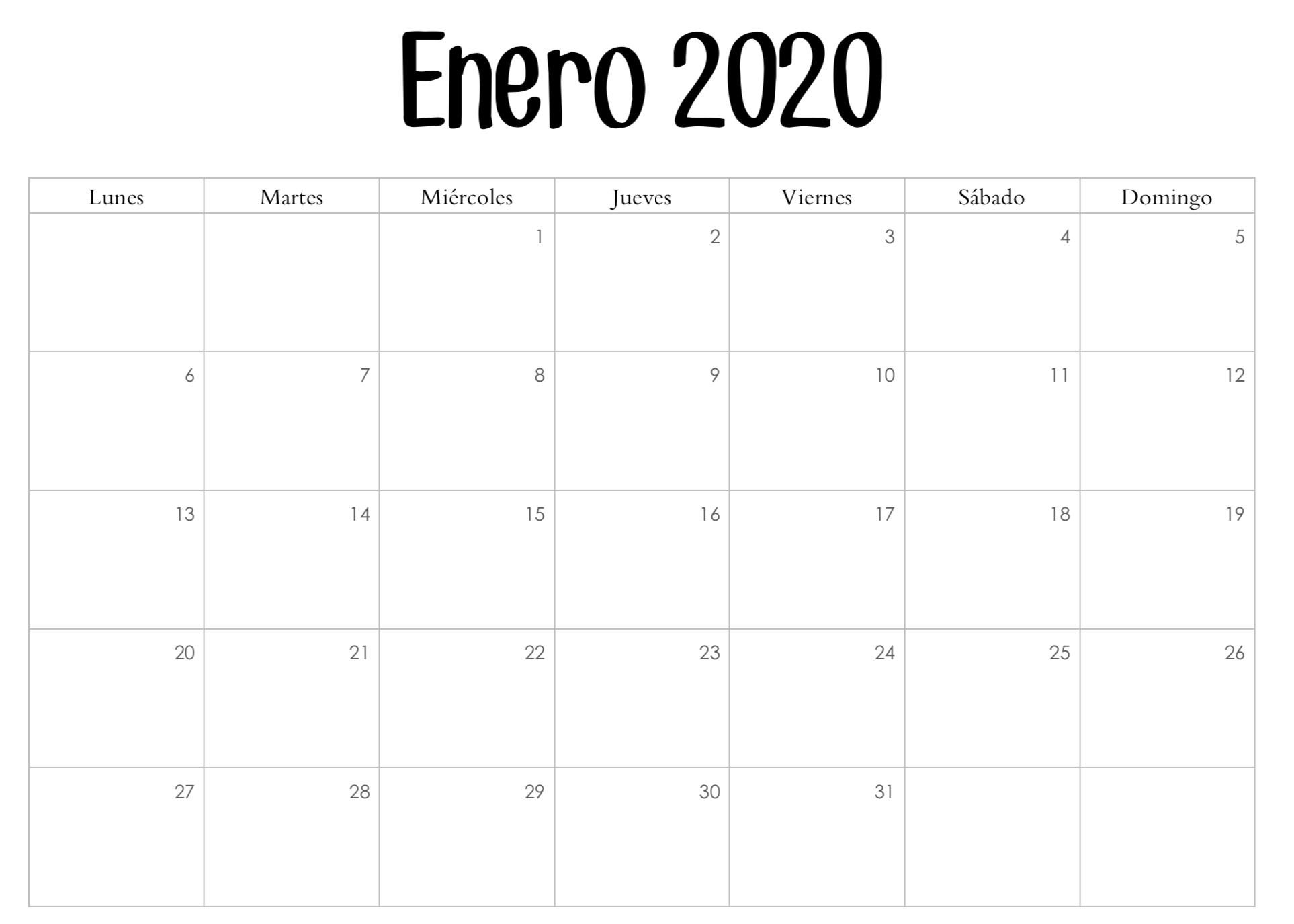 Calendario febrero 2020 con notas