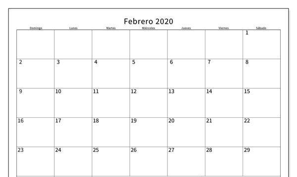 Calendario febrero de 2020 con días festivos