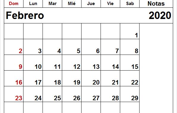 Calendario imprimible gratuito de febrero de 2020