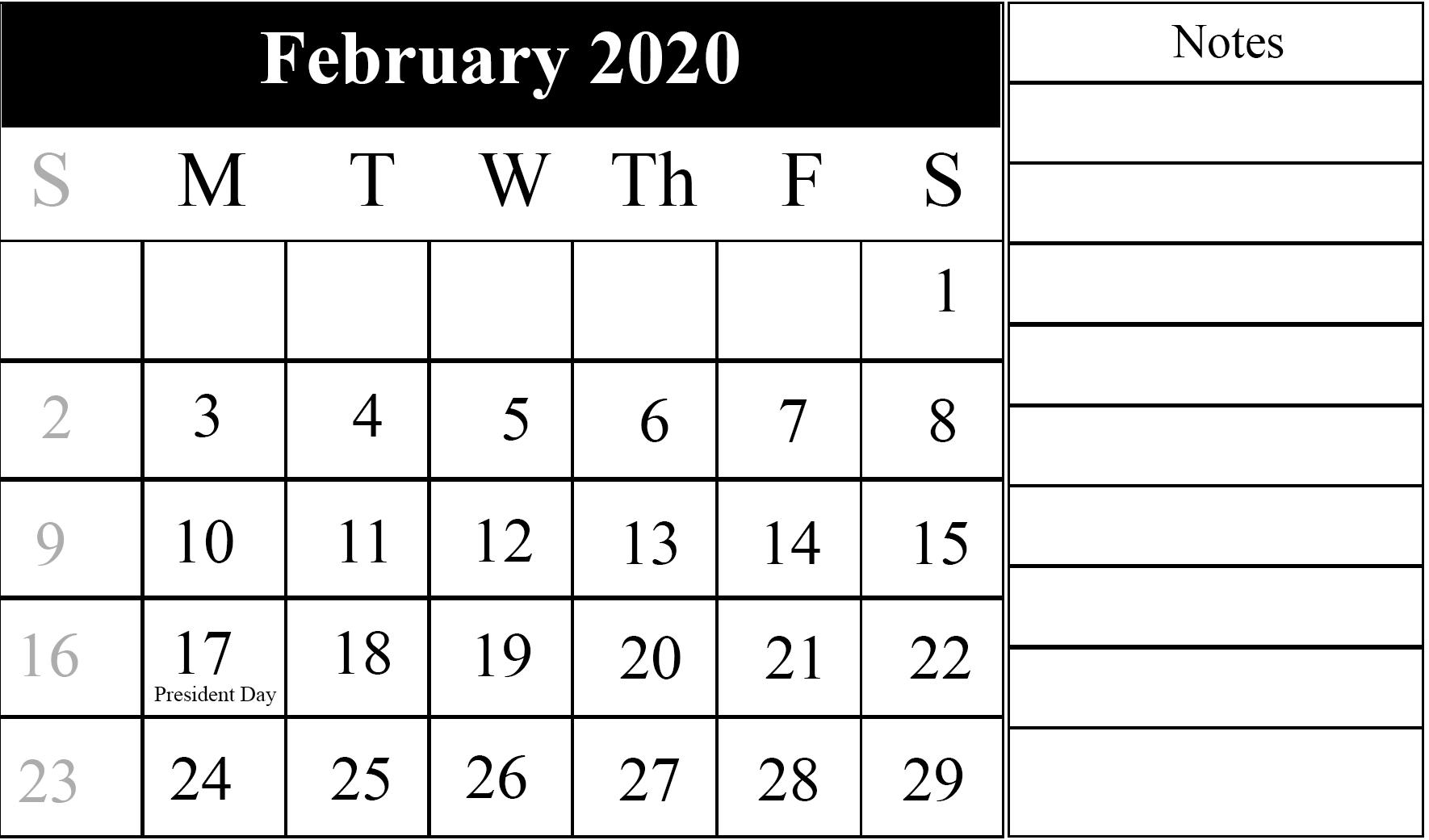 February 2020 Holidays Calendar