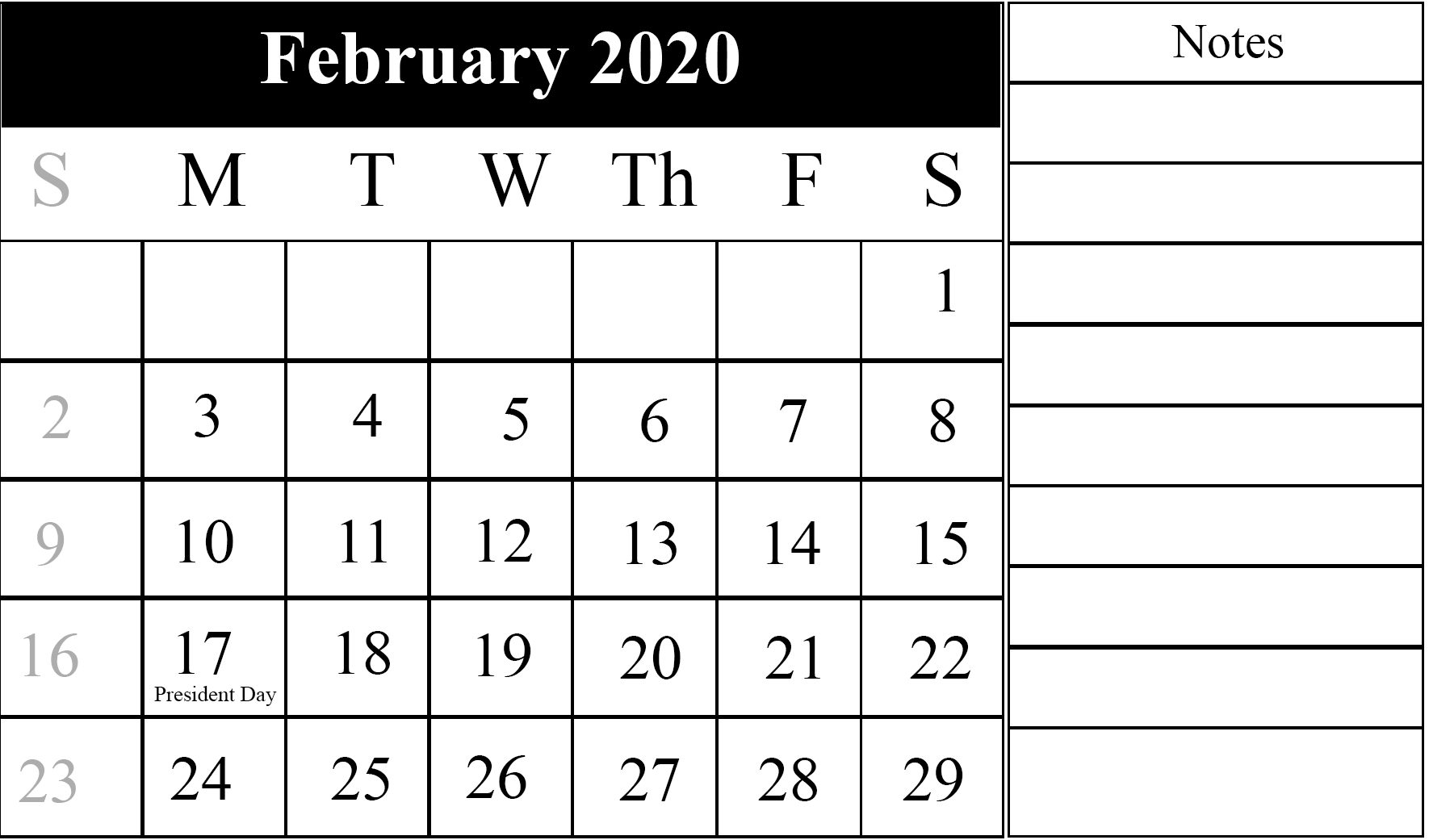 Editable February 2020 Calendar With Holidays