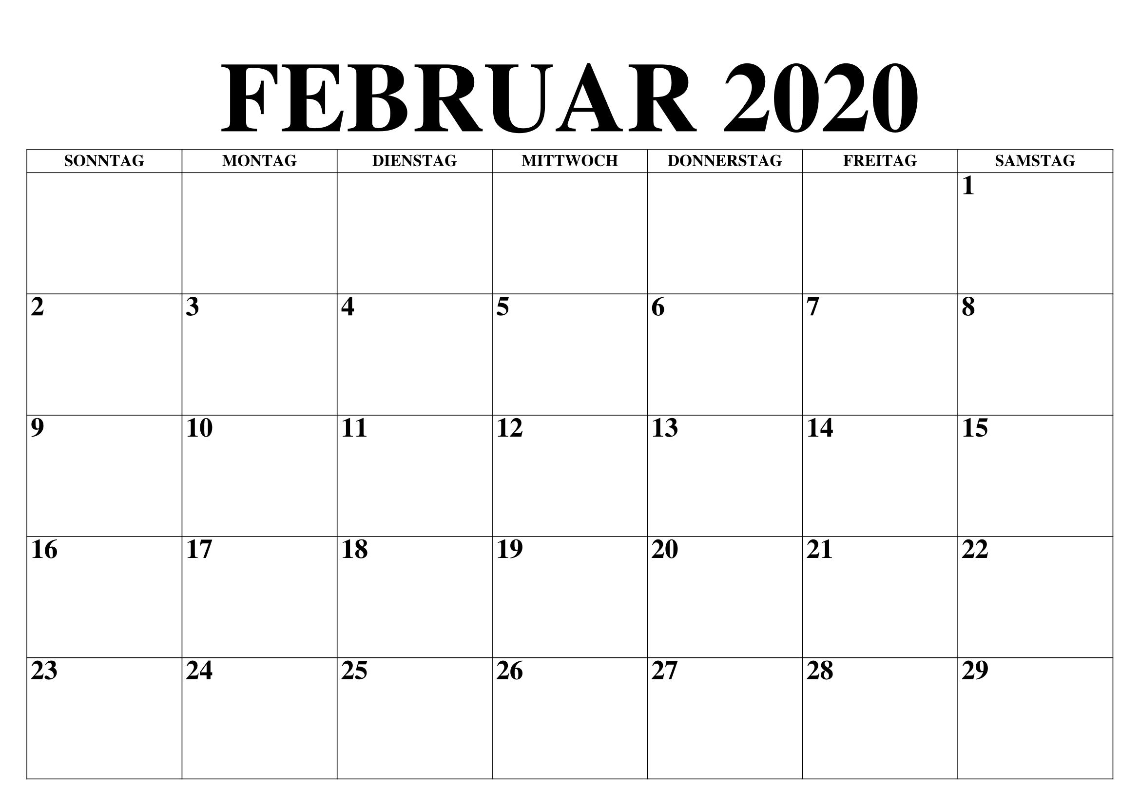Blank Februar 2020 Kalender Excel