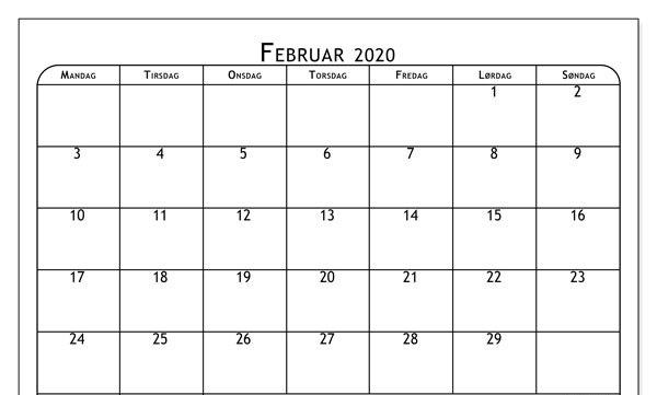 Februar Kalender 2020 mit Notizen