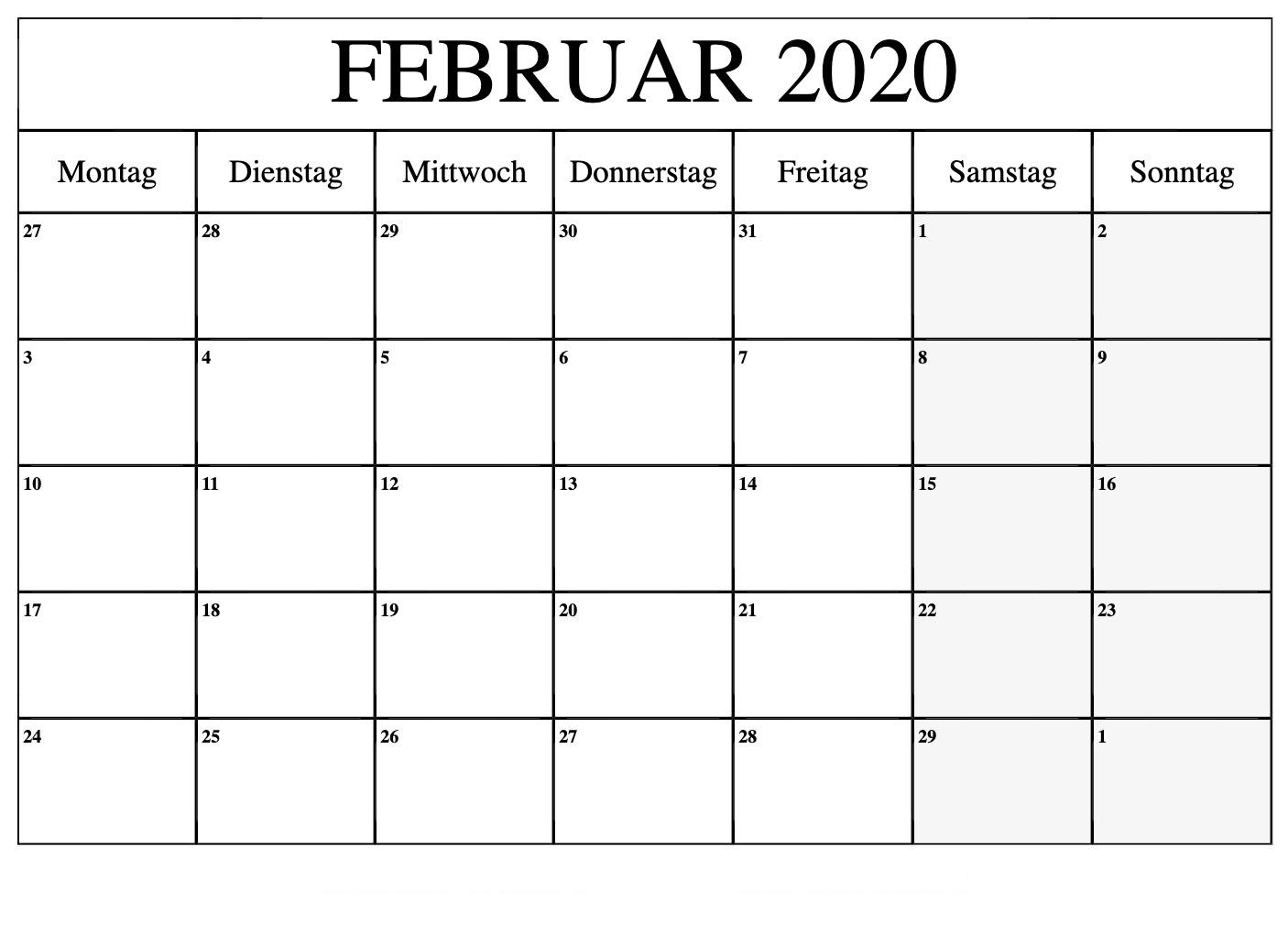 Februar 2020 Kalendervorlage