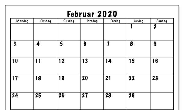 2020 Februar Kalender wort