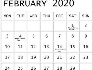 February 2020 Calendar With National Holidays